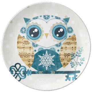 Placa de la porcelana del búho del país de las mar platos de cerámica