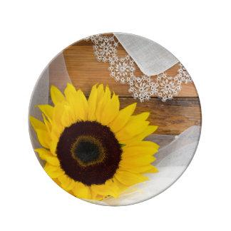 Placa de la porcelana del girasol y del boda del plato de cerámica