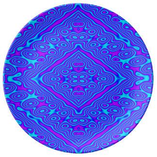 Placa de la porcelana del giro excéntrico de Wavey Plato De Cerámica