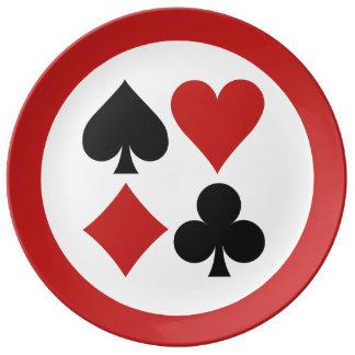 Placa de la porcelana del jugador de tarjeta plato de cerámica