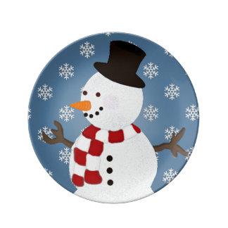 Placa de la porcelana del muñeco de nieve del plato de cerámica
