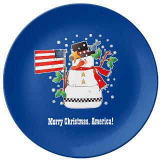 Placa de la porcelana del navidad de América de Platos De Cerámica