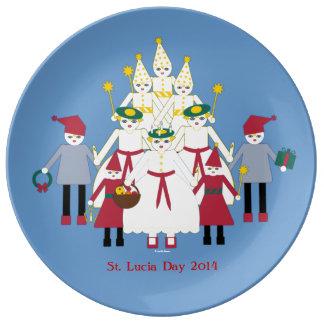 Placa de la porcelana del navidad del día de St Plato De Cerámica