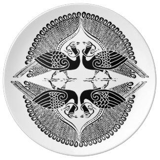 Placa de la porcelana del Peafowl Platos De Cerámica