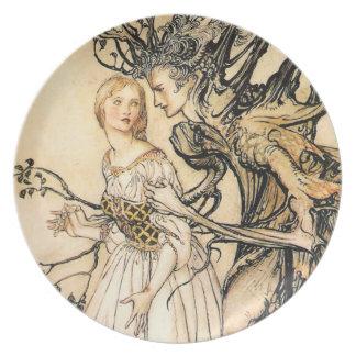 Placa de la princesa del cuento de hadas y del due plato de comida
