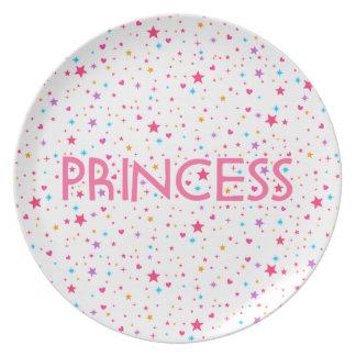 Placa de la princesa plato de comida