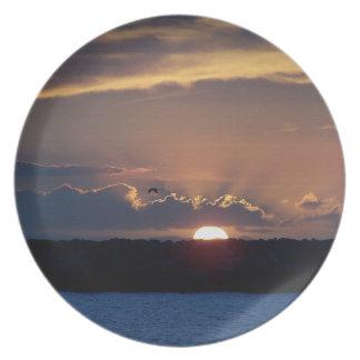 Placa de la puesta del sol de la playa plato para fiesta