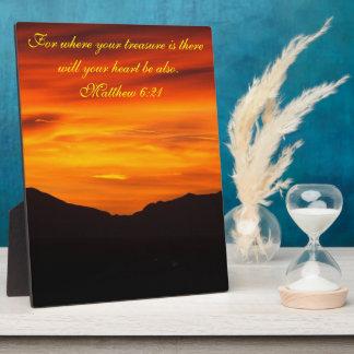 Placa de la puesta del sol del verso de la biblia