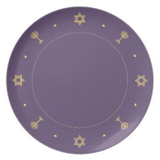 Placa de la púrpura del adorno de Jánuca Plato Para Fiesta