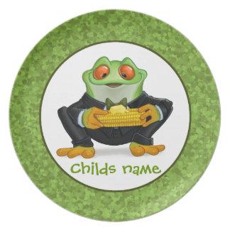 Placa de la rana del maíz platos para fiestas