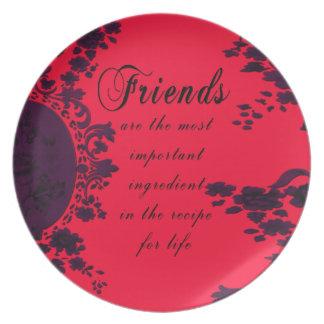 Placa de la receta de los amigos del damasco del v platos para fiestas