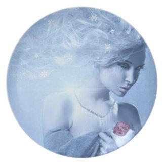 Placa de la reina de la nieve platos