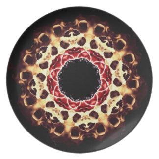 Placa de la rueda del cráneo plato de comida