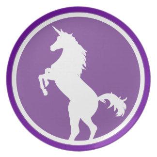 Placa de la silueta del unicornio plato de comida