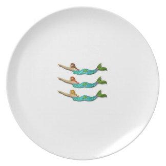Placa de la sirena de la melamina plato
