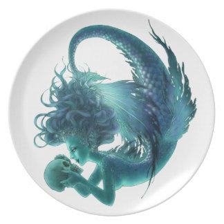 Placa de la sirena del cráneo - besos del secreto plato