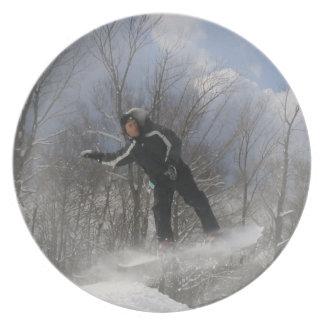 Placa de la snowboard 360 plato de cena