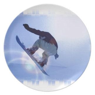 Placa de la snowboard plato para fiesta