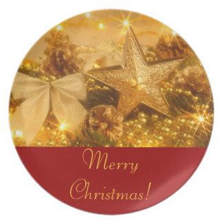 """Placa de la tabla del """"navidad de oro"""" plato para fiesta"""