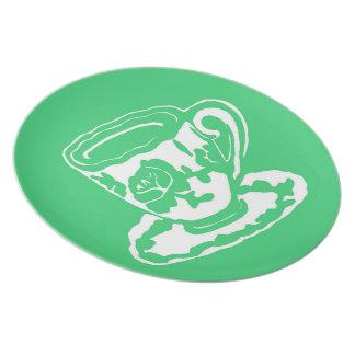 Placa de la taza de té del rosa verde plato de comida