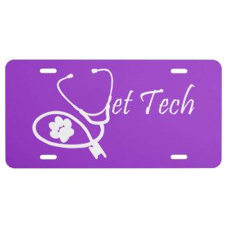 placa de la tecnología del veterinario placa de matrícula