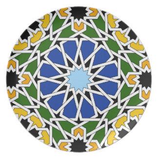 Placa de la teja del Moorish Plato Para Fiesta