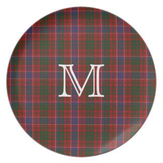 Placa de la tela escocesa de tartán del monograma  plato