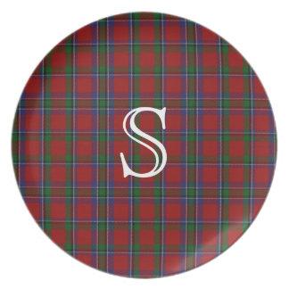 Placa de la tela escocesa de tartán del monograma  platos para fiestas