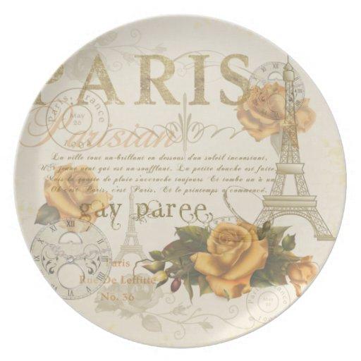 Placa de la torre Eiffel de los rosas de París del Plato Para Fiesta