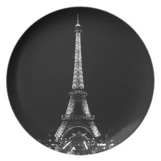 Placa de la torre Eiffel Plato Para Fiesta