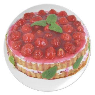 Placa de la torta de la crema de la fresa platos para fiestas
