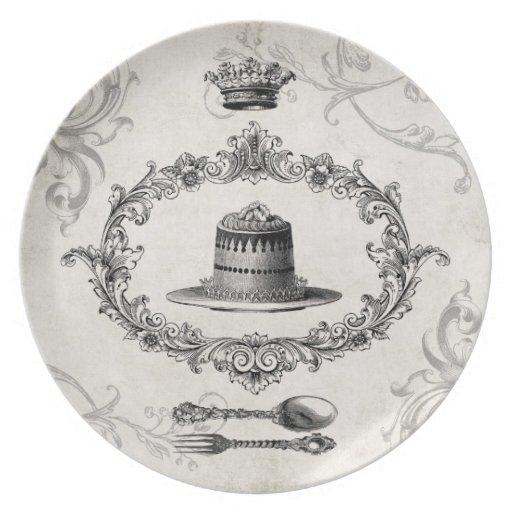 Placa de la torta de la torta del francés del vint plato de comida