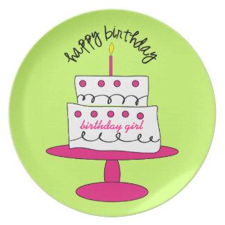 Placa de la torta del cumpleaños del chica plato para fiesta