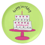 Placa de la torta del cumpleaños del chica platos