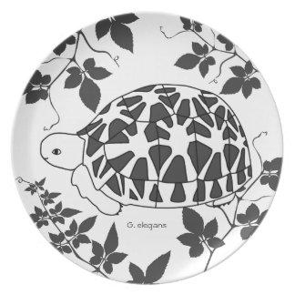 Placa de la tortuga de la estrella bw del susie d plato de cena