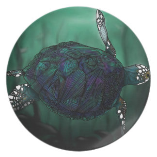 Placa de la tortuga de mar platos