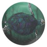 Placa de la tortuga de mar plato de comida