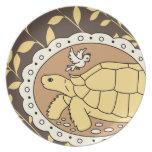 Placa de la tortuga de Sulcata (óvalo marrón) Platos