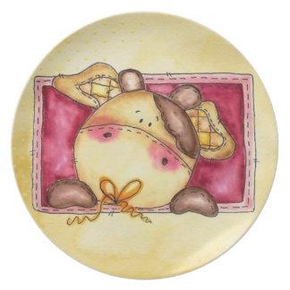 placa de la vaca del bebé plato para fiesta