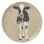 Placa de la vaca del ónix y de la perla platos