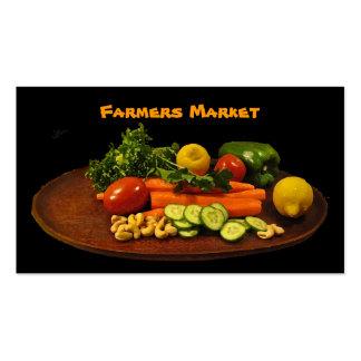 Placa de la verdura del mercado de los granjeros tarjetas de visita