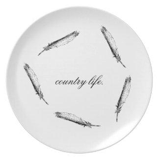 Placa de la vida en el campo plato de cena