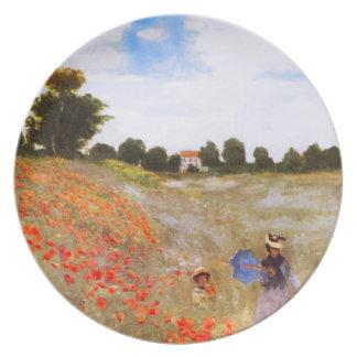 Placa de las amapolas de Monet Platos