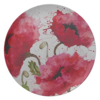 Placa de las amapolas del fiesta platos para fiestas