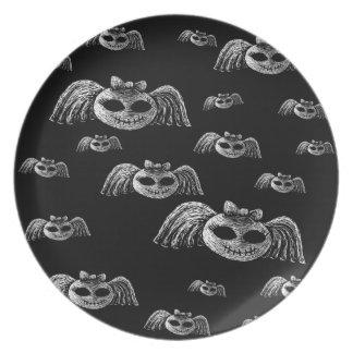 Placa de las cabezas de muerte del vuelo - cráneos plato de comida