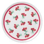 Placa de las cerezas del vintage plato para fiesta