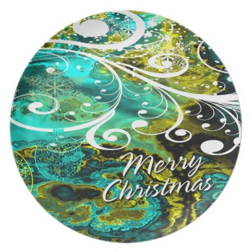 Placa de las Felices Navidad 8 Plato