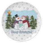 Placa de las Felices Navidad de la familia del muñ Platos Para Fiestas