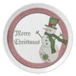 Placa de las Felices Navidad del muñeco de nieve d Platos De Comidas