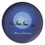 Placa de las Felices Navidad Plato De Cena